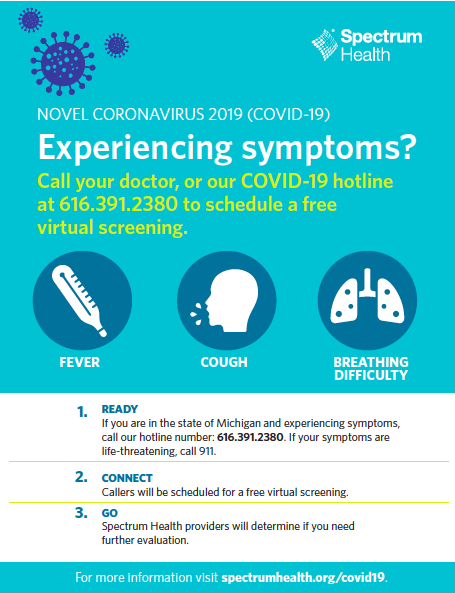 Spectrum Health Poster - Experiencing Symptoms